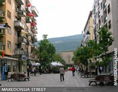 Cafeholder Makedonija street in the downtown