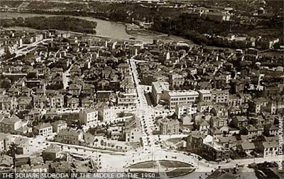 Aerial view of the Square Sloboda towards the Kale fortress