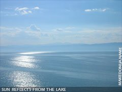 Ohrid Lake: The sun reflects from the lake