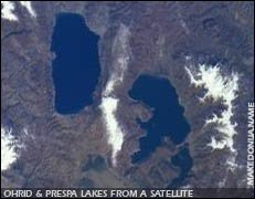 Ohrid & Prespa lakes from a satellite