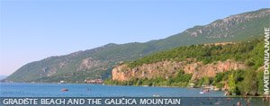 Gradiste beach and the Galicica mountain