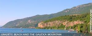 Gradiste beach and the Galicica mountain